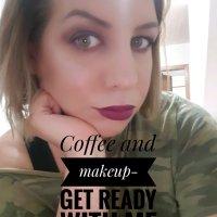 Coffee and makeup-purple makeup look